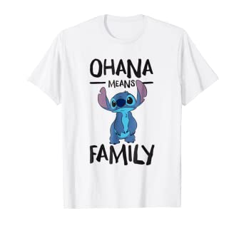 e04ce4b8 Image Unavailable. Image not available for. Color: Disney Ohana Means  Family Stitch T Shirt