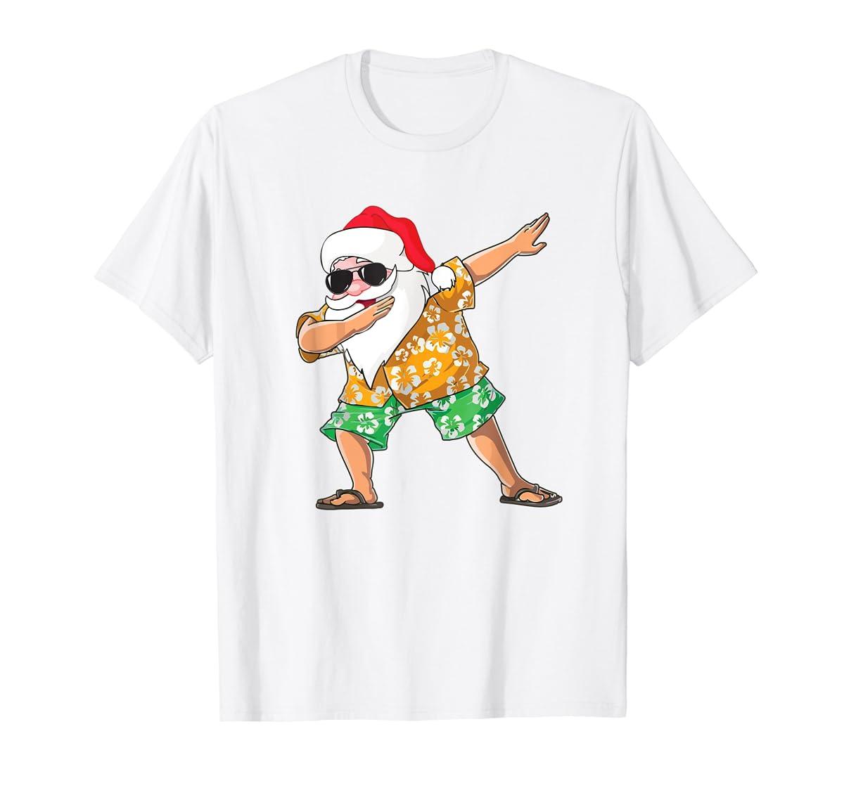 Dabbing Santa Tee Christmas In July Kids Hawaiian Xmas T-Shirt-Men's T-Shirt-White