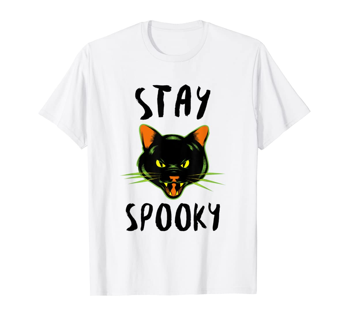 Stay Spooky | Scary Halloween Black Cat T-Shirt-Men's T-Shirt-White