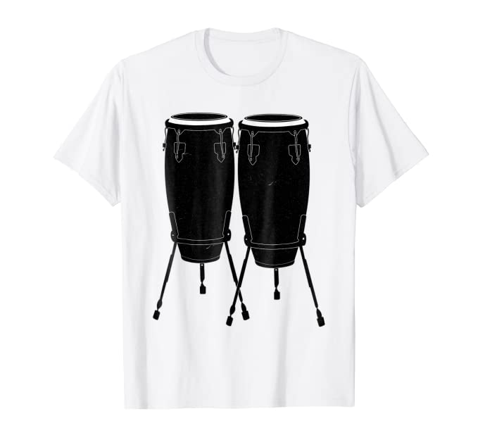 Large Congas graphic tee shirt for latin jazz music fans