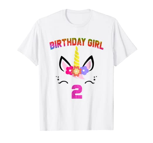 Amazon 2nd Birthday Gifts Unicorn Face Girl Shirt 2