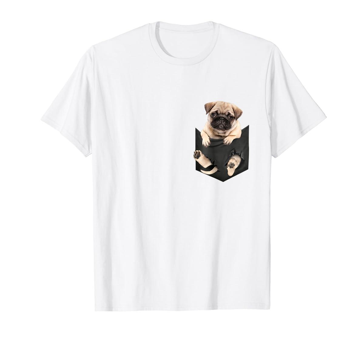 Dog in Your Pocket santa hat pug lover gift shirt-Men's T-Shirt-White