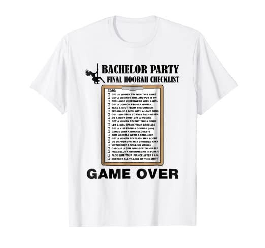 62f55f8779 Amazon.com  Mens Bachelor Party Checklist Funny Challenge T-Shirt ...