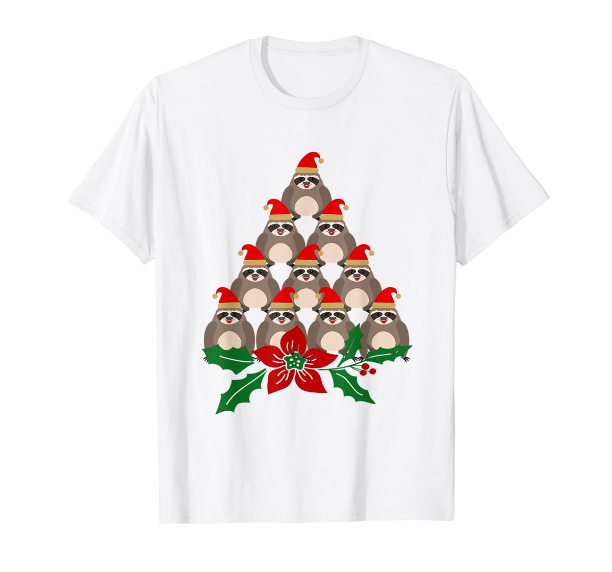 Sloth Christmas Tree Xmas Lover T-Shirt-Men's T-Shirt-White