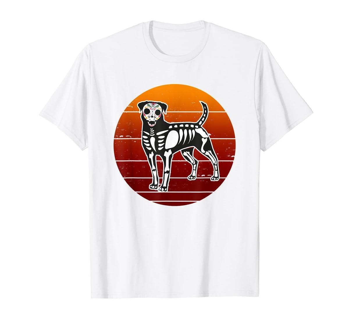 Rottweiler Skeleton Halloween T-Shirt-Men's T-Shirt-White