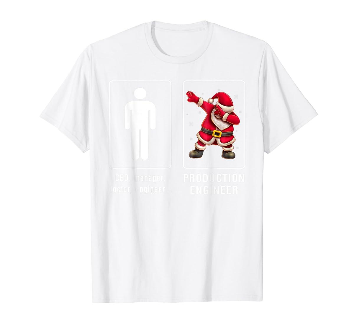 PRODUCTION ENGINEER Santa Dab T-shirt Funny Christmas T-Shirt-Men's T-Shirt-White