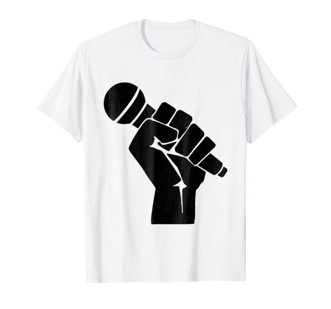 Large hand and mic graphic tee shirt for singers & speakers