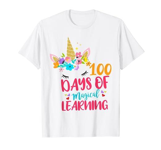 1f042c0de89 Amazon.com: 100th Day of School Unicorn T Shirt Girls 100 Days of ...
