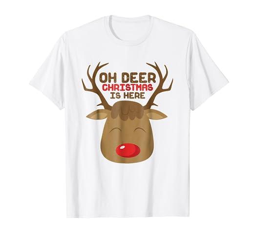 oh deer reindeer snow play on words funny christmas t shirt