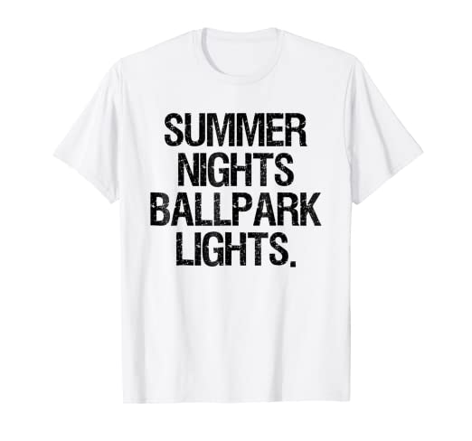 efd28ebd62a Image Unavailable. Image not available for. Color  Summer Nights And Ballpark  Lights Shirt Baseball