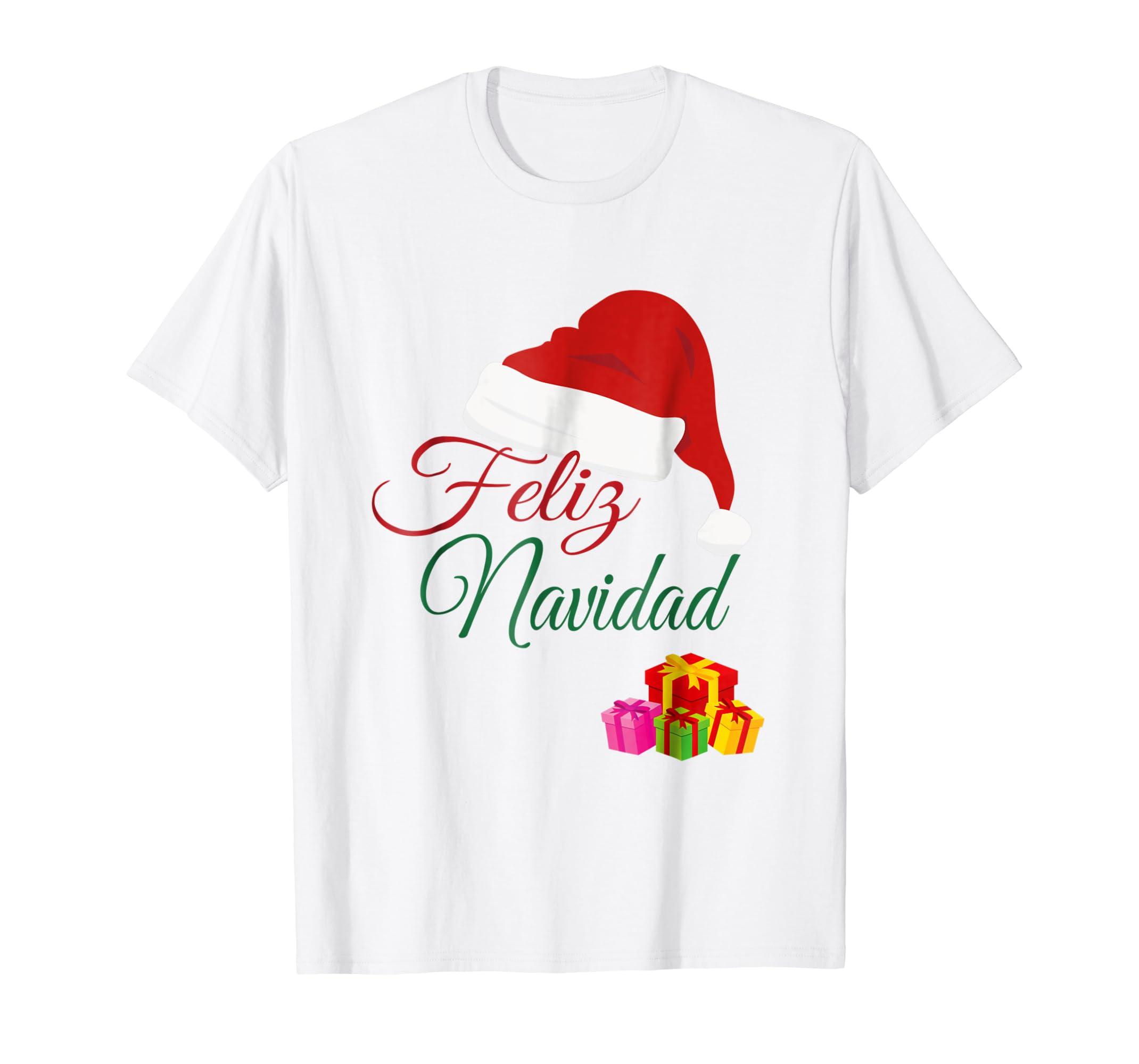 Amazon.com: Feliz Navidad Camiseta Navidena En Espanol Para Regalo: Clothing