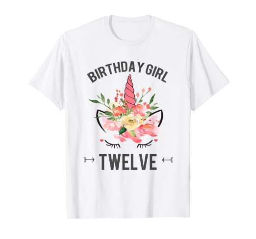Image Unavailable Not Available For Color Birthday Girl Twelve Unicorn Shirt 12 Year Old