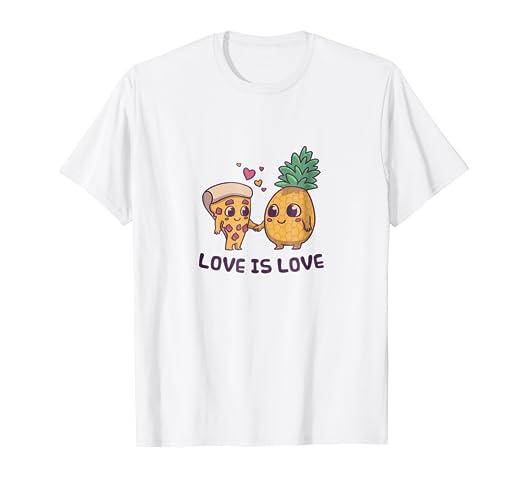 6edaed66955035 Amazon.com: Love is Love Cute Pride Pineapple Pizza T-Shirt: Clothing
