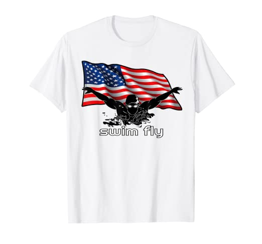 4fd26f7973769 Image Unavailable. Image not available for. Color: Swimmer T Shirt Funny  Swim Swimming USA Flag ...