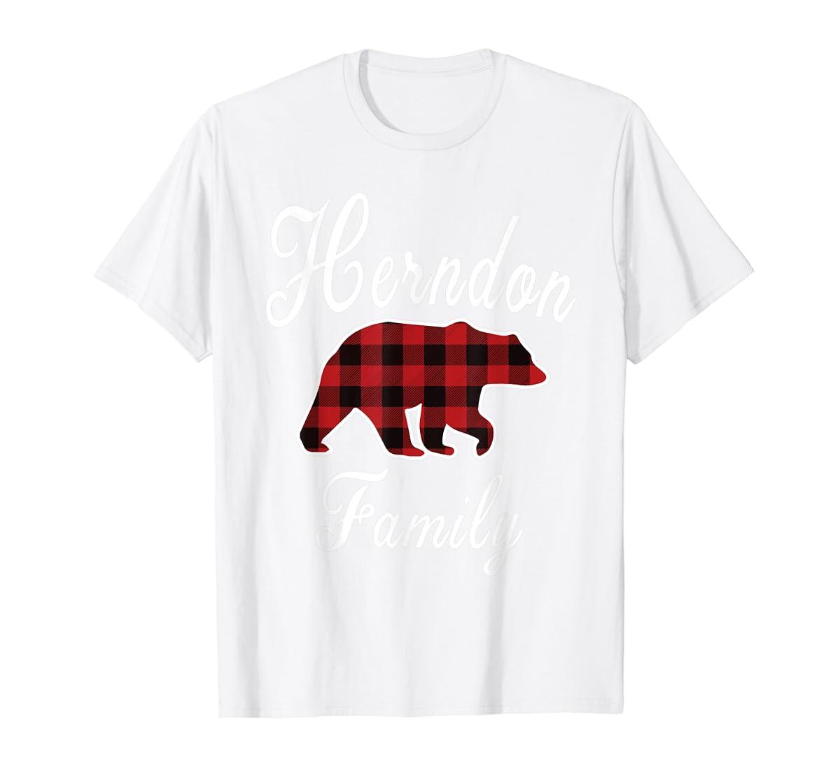 HERNDON Family Bear Red Plaid Christmas Pajama Gift T-Shirt-Men's T-Shirt-White