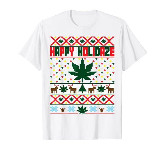 Amazon Com Happy Holidaze Marijuana Weed Ugly Christmas Sweater