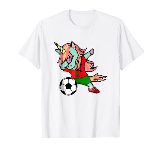 8df8e52b0d5 Image Unavailable. Image not available for. Color: Dabbing Unicorn Soccer  Morocco Jersey Shirt 2018 Football