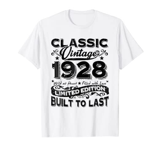 Image Unavailable Not Available For Color Vintage 1928 Best Gift 90 Years Old 91st Birthday T Shirt