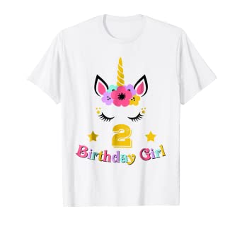 2 Birthday Girl Floral Unicorn T Shirt 2nd Outfit