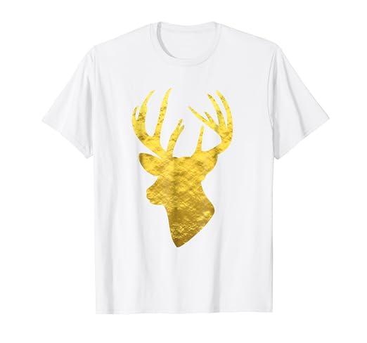 9f8df1631d4d Amazon.com: Deer Head Shirt Gold Foil Buck Print White Graphic Tee ...