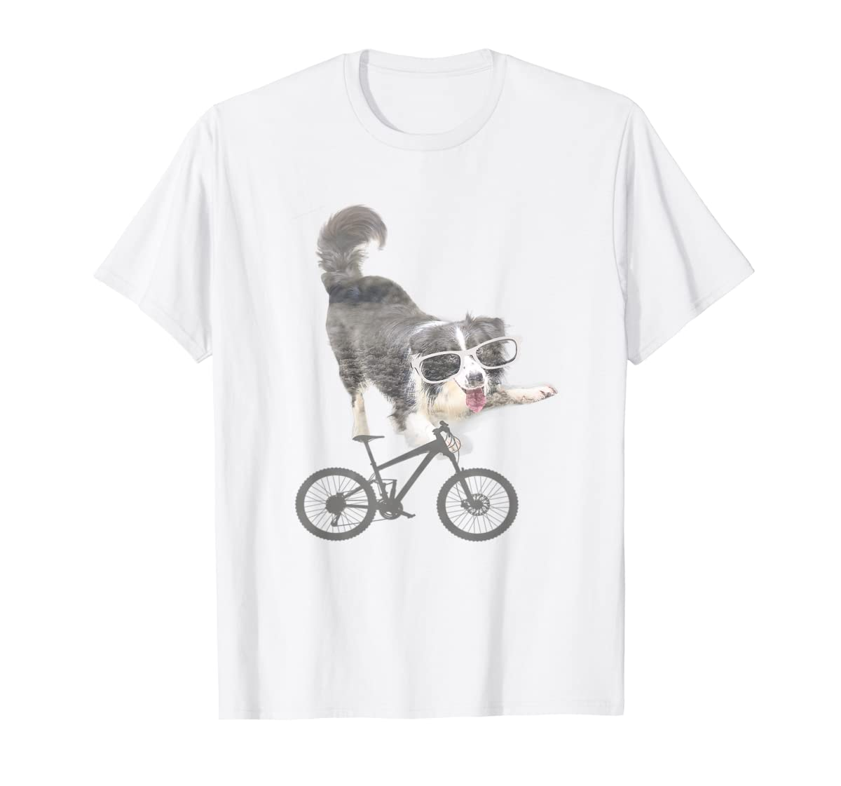 Border collie on a Bicycle T-shirt-Men's T-Shirt-White
