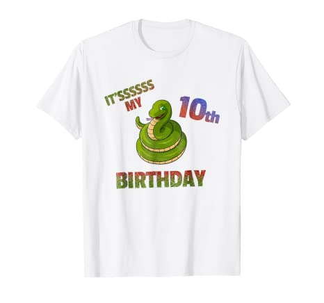 Birthday Boy 10 T Shirt 10th Bday Snake Gifts