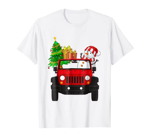 Christmas Jeep.Amazon Com Merry Jeep Mas Christmas Gift Fun Snowman Jeep T