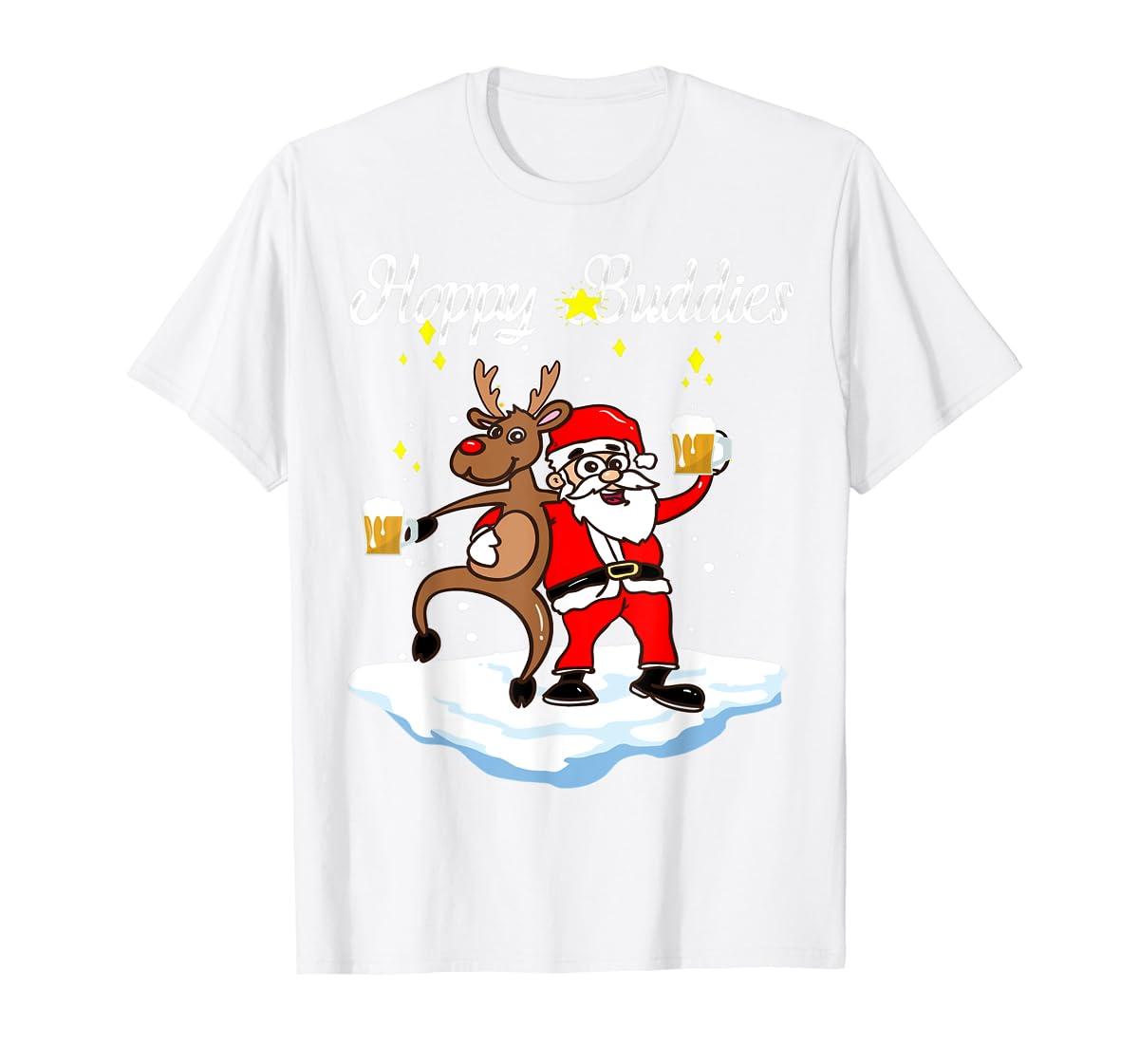 Santa Dancing Reindeer Beer Drinking T-Shirt Christmas Party T-Shirt-Men's T-Shirt-White