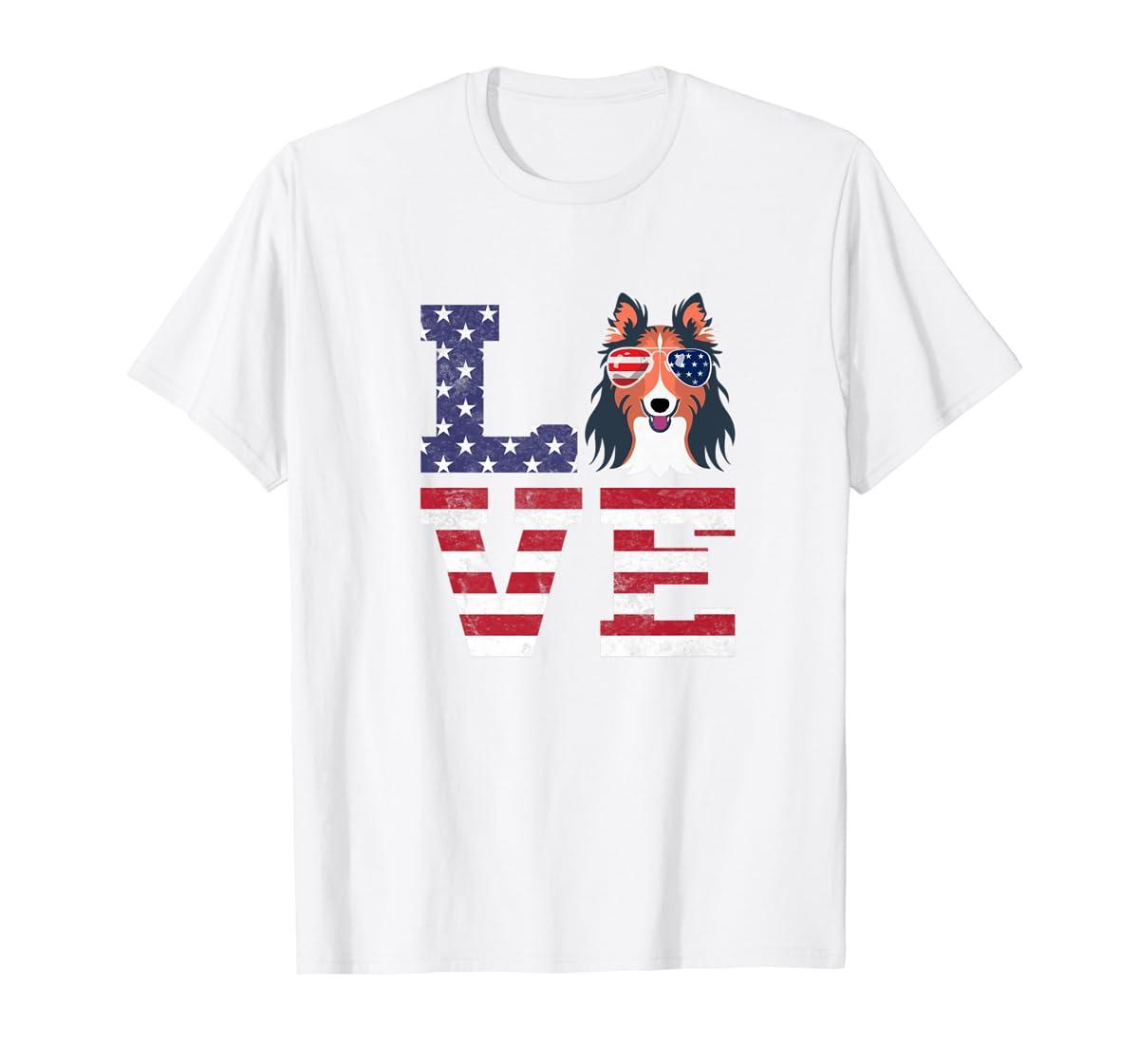 Love Rough Collie Dog American Flag 4th of july Shirt-Men's T-Shirt-White
