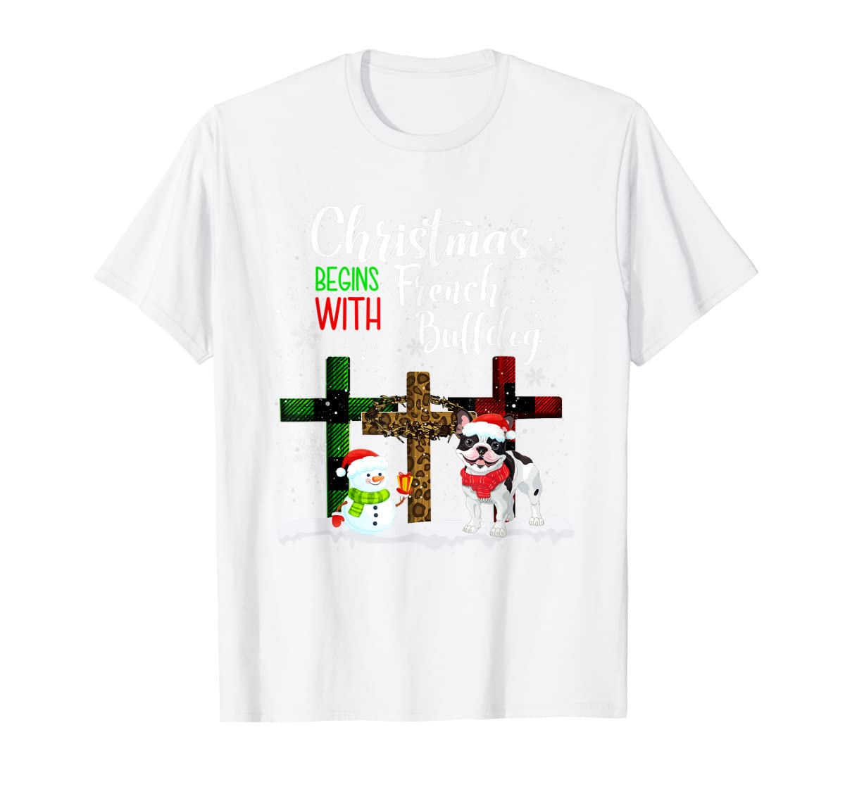 Christmas Begins With French Bulldog Costume Xmas Gifts T-Shirt-Men's T-Shirt-White