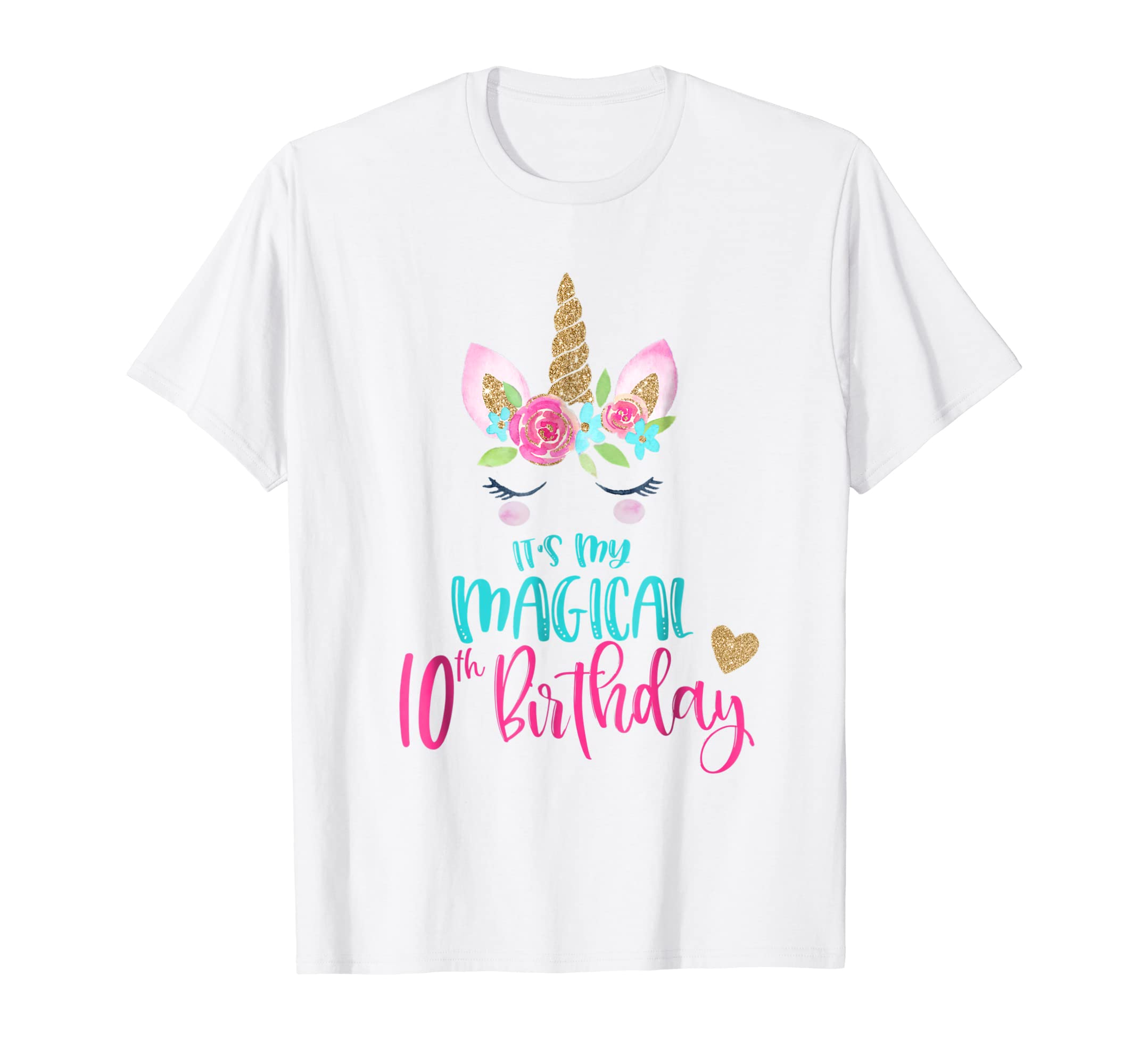 Amazon Unicorn 10th Birthday Party Shirt Girl 10 Years Old T Clothing
