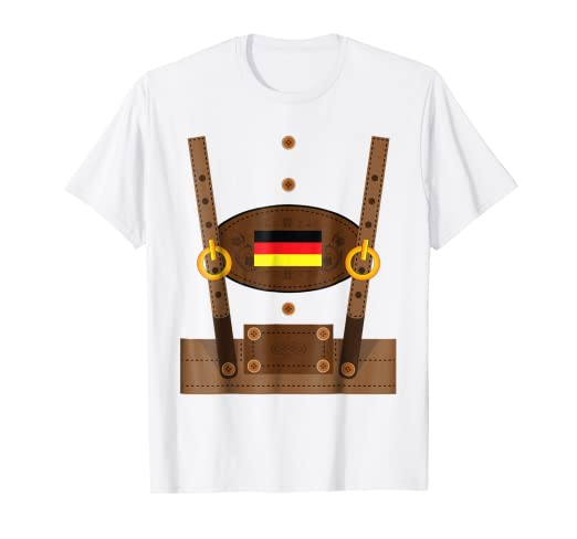 757f6814 Image Unavailable. Image not available for. Color: Lederhosen T-Shirt Funny  Oktoberfest Germany Costume Shirt