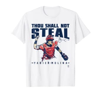 quality design d8090 196eb Amazon.com: Yadier Molina Thou Shall Not Steal T-Shirt ...