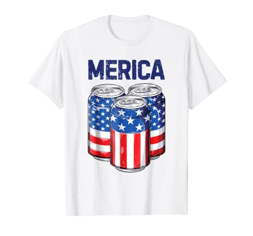 5f07ed0f Image Unavailable. Image not available for. Color: Beer Merica 4th of July T  shirt Men Women American Flag USA