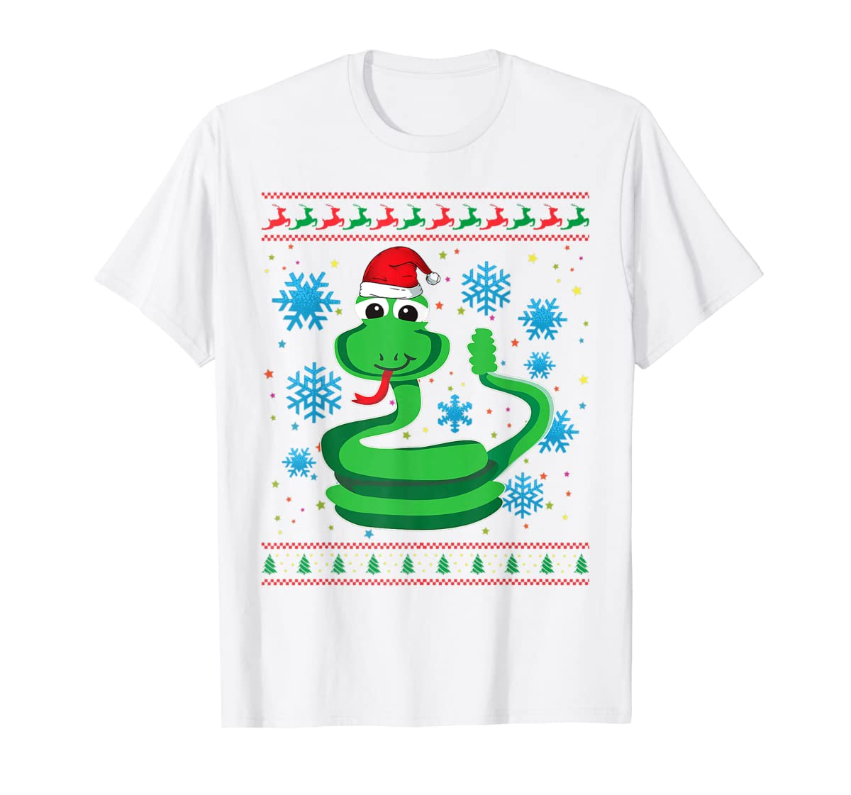 Rattlesnake With Santa Hat Christmas Snake Lover Gift Ugly T-Shirt-Men's T-Shirt-White