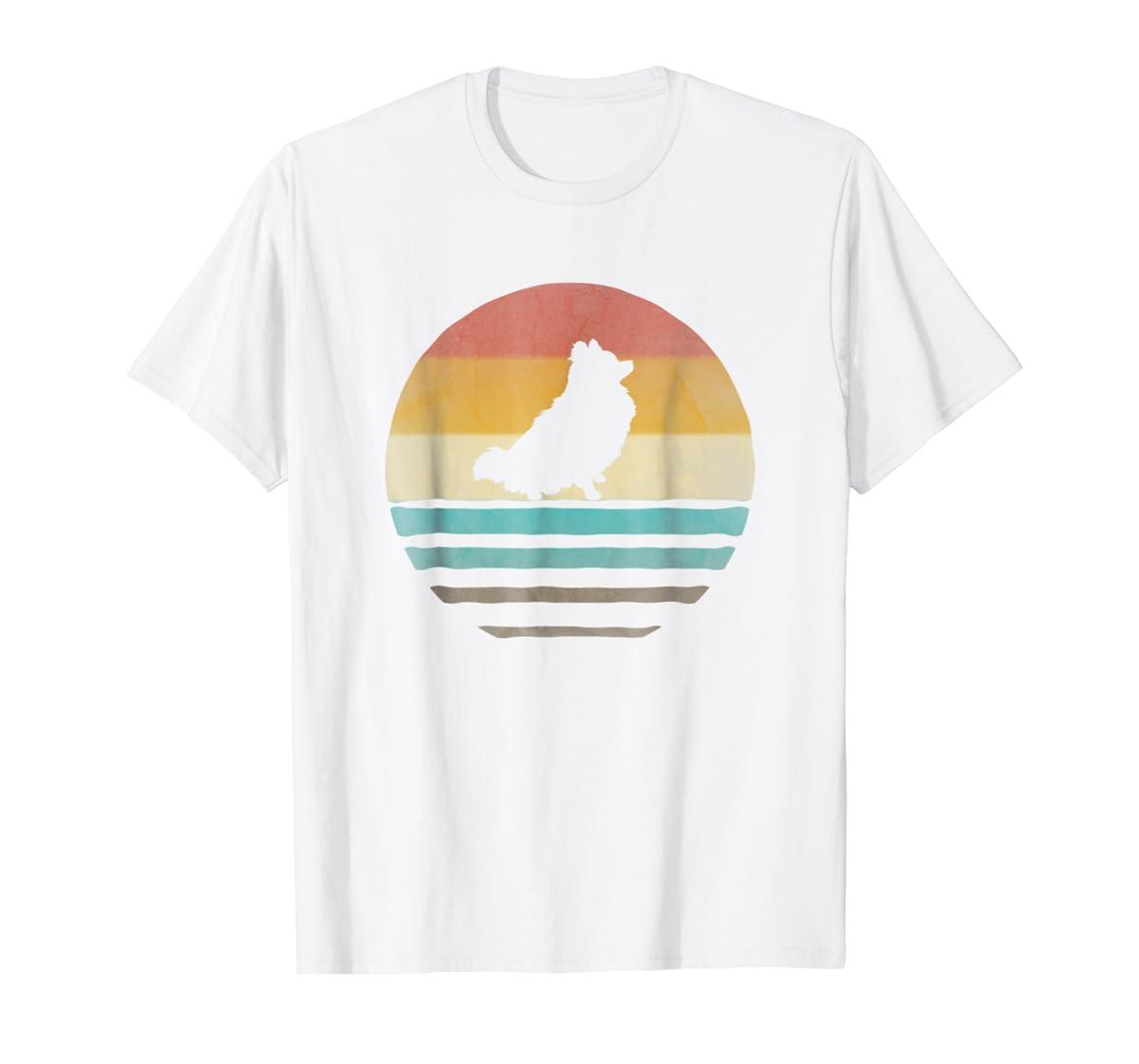 Pomeranian Dog Shirt Retro Vintage 70s Silhouette Distressed-Men's T-Shirt-White