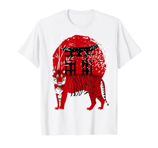cdeadf824 Amazon.com: Torii Red Tiger t-shirt oriental design style japan ...