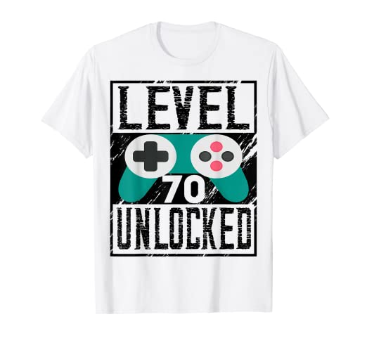Image Unavailable Not Available For Color Vintage Level Unlocked 70 T Shirt 70th Birthday Gifts Tee