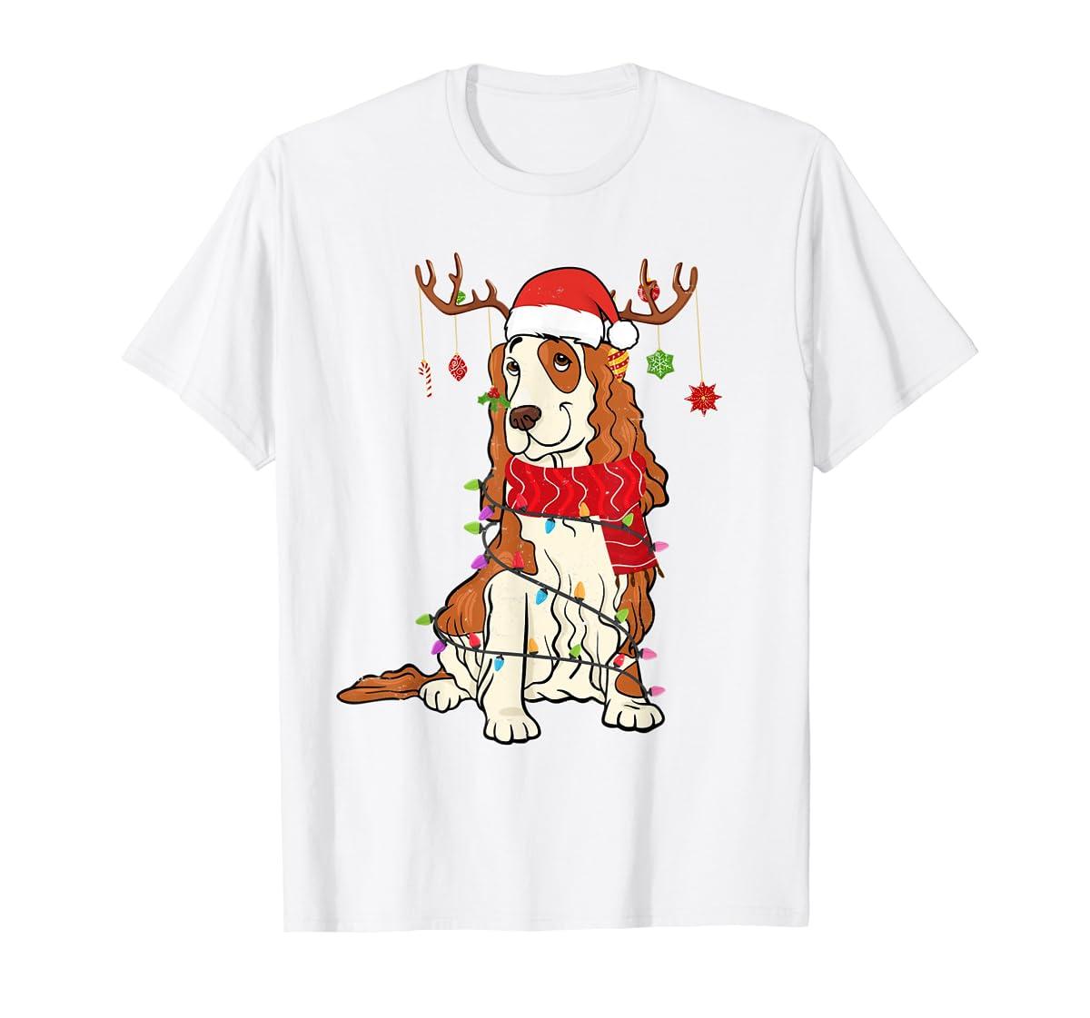 Funny Cocker Spaniel Christmas Reindeer Lights Xmas Dog T-Shirt-Men's T-Shirt-White