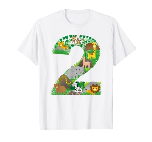 Image Unavailable Not Available For Color Safari Jungle Zoo Animals Second Birthday Number 2 T Shirt