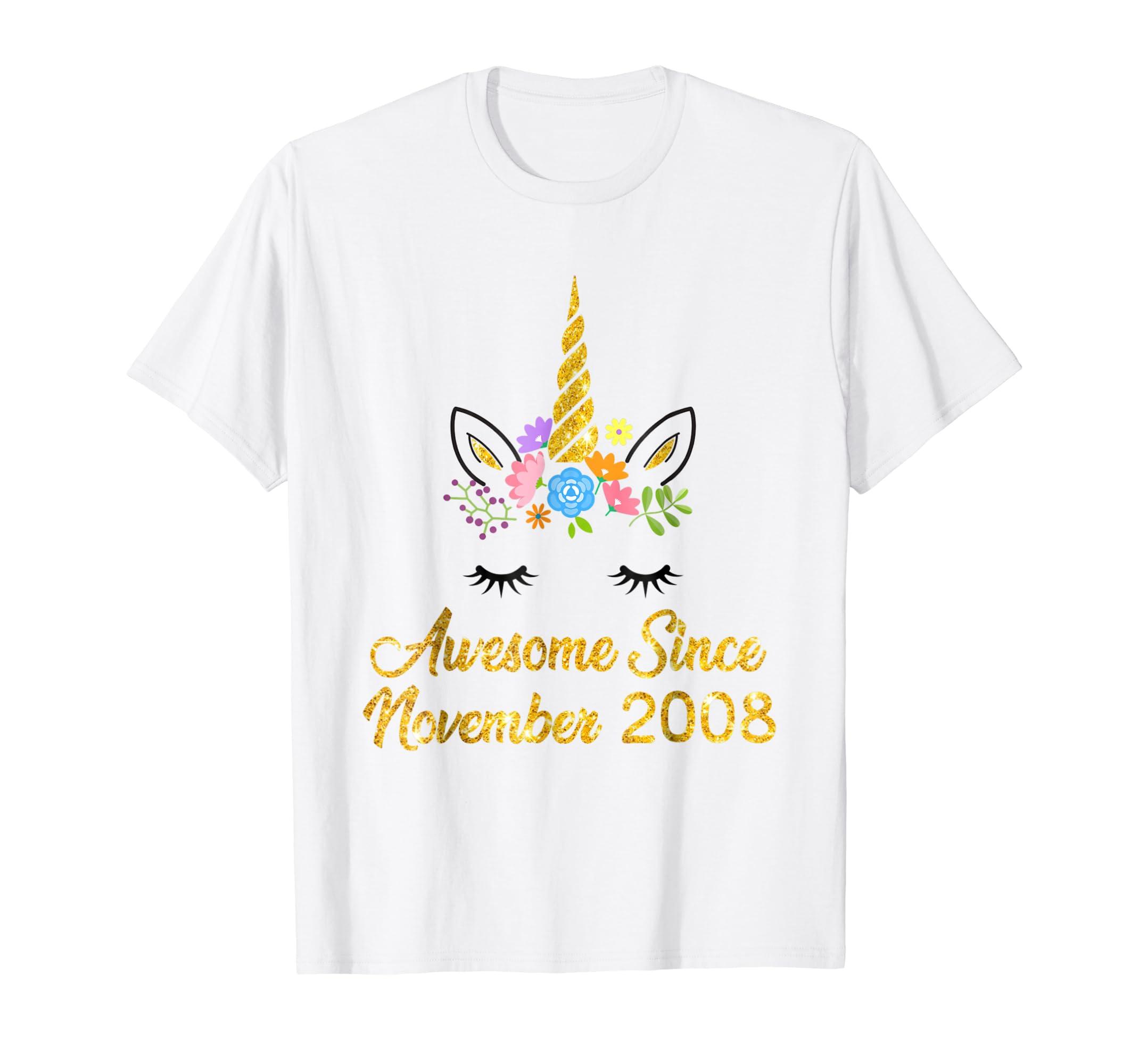 Awesome Since November 2008 Unicorn Birthday Girl Shirt-azvn