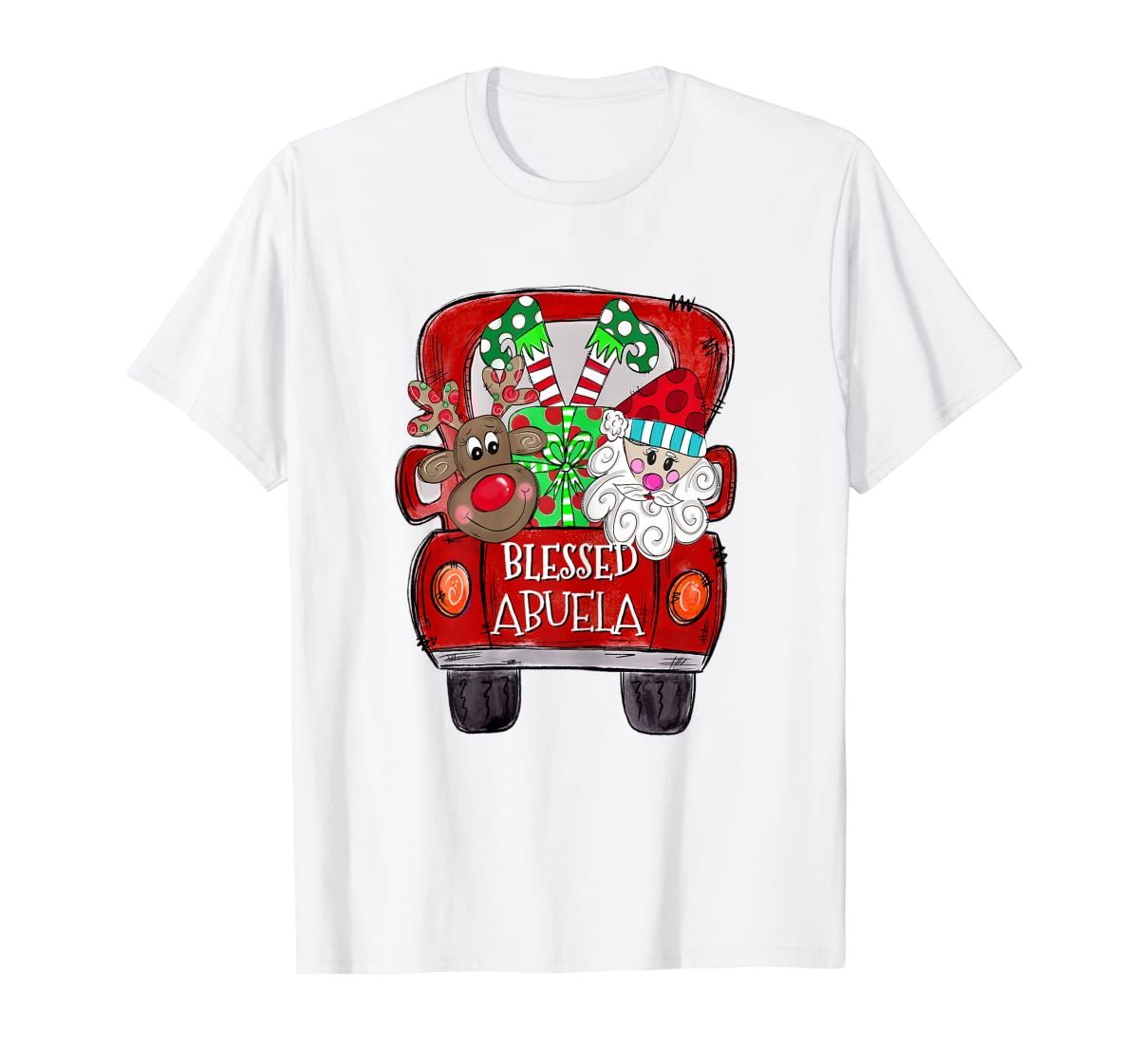 Womens Abuela Claus Cute Christmas Truck - Christmas Gift T-Shirt-Men's T-Shirt-White