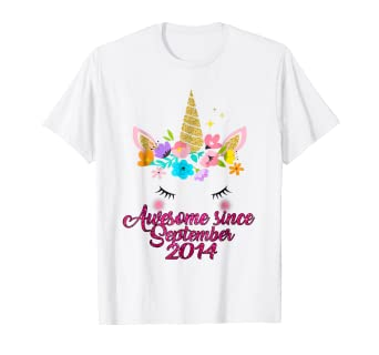 Unicorn 4th Birthday Shirt Awesome Since September 2014