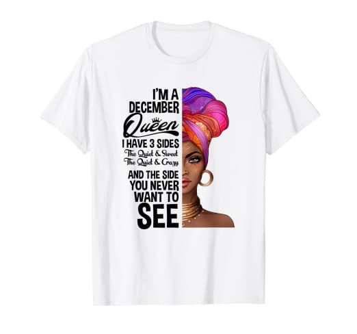 2f43f0b9 Amazon.com: Queens Are Born In December Birthday T-Shirt for Black ...