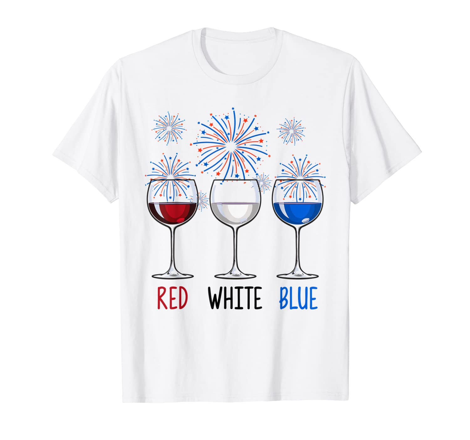 Red White Blue Wine Glasses USA Firework 4th Of July T-Shirt-ANZ