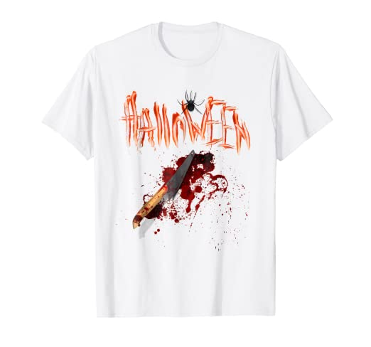 Amazon com: Halloween bloody t shirt with knife, blood and