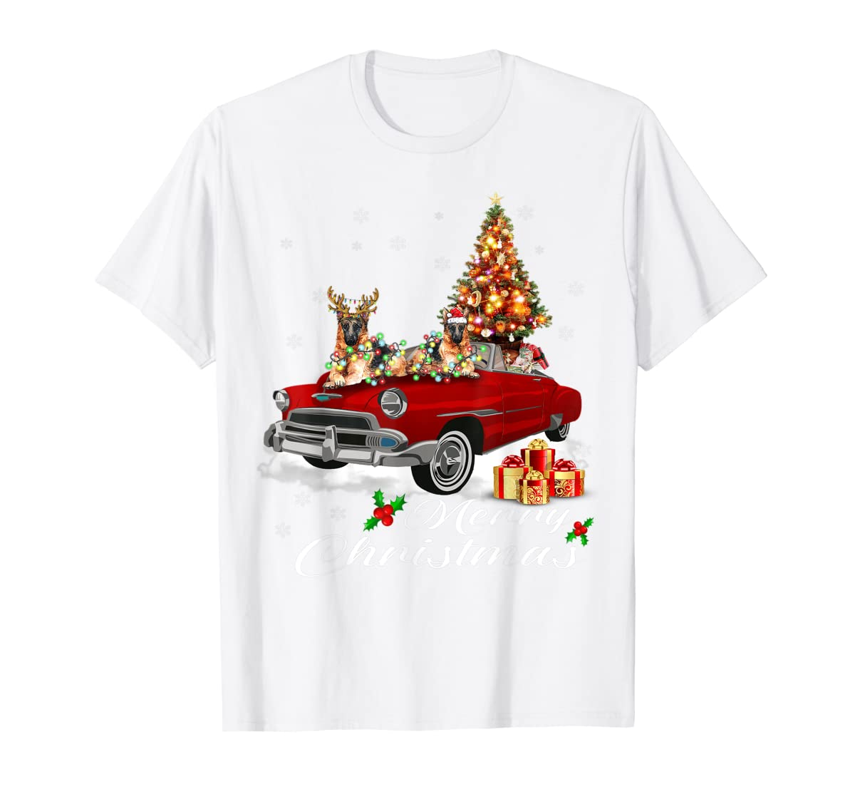 German Shepherd on Red Truck Christmas Pajama Dog Lover Gift T-Shirt-Men's T-Shirt-White