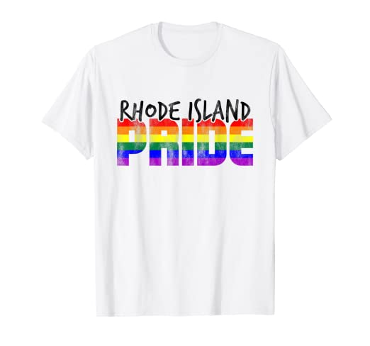 ea78bf0be Image Unavailable. Image not available for. Color: Rhode Island Pride LGBT  Rainbow Flag T-Shirt