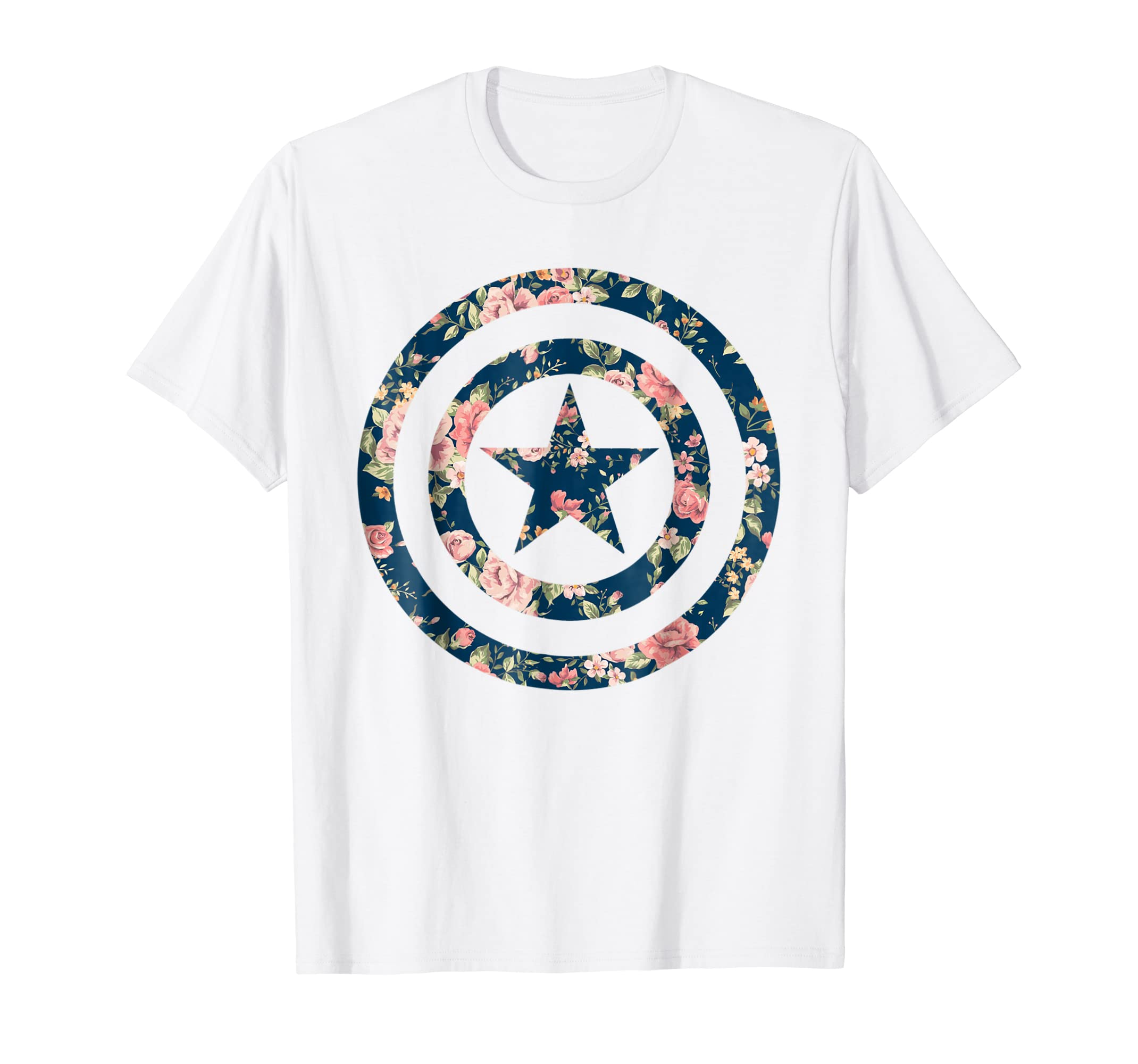 f9623181 Amazon.com: Marvel Avengers Captain America Floral Icon Graphic T-Shirt:  Clothing