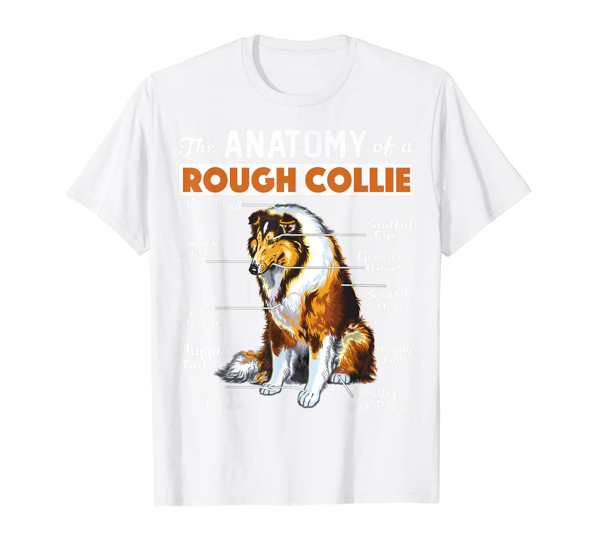 The Anatomy Of A Rough Collie-Men's T-Shirt-White